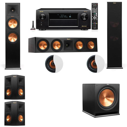 Dolby Atmos 5.1.2 Klipsch RP-280F Tower Speakers R-115SW with Denon AVR-X6300H