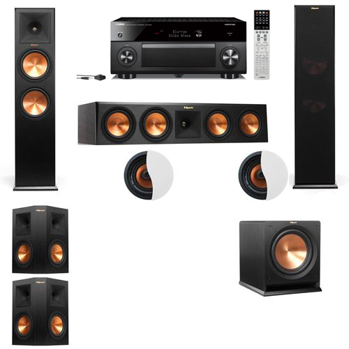 Dolby Atmos 5.1.2 Klipsch RP-280F Tower Speakers R112SW with Yamaha RX-A2060