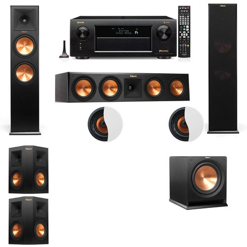 Dolby Atmos 5.1.2 Klipsch RP-280F Tower Speakers R112SW with Denon AVR-X6300H