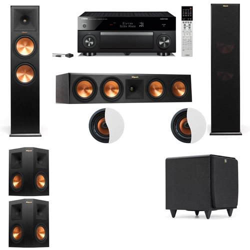 Dolby Atmos 5.1.2 Klipsch RP-280F Tower Speakers SDS12 with Yamaha RX-A1060