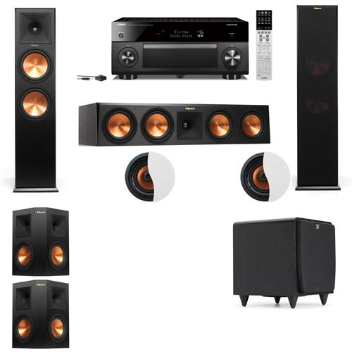Dolby Atmos 5.1.2 Klipsch RP-280F Tower Speakers SDS12 with Yamaha RX-A2060