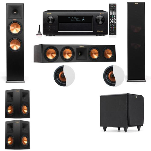 Dolby Atmos 5.1.2 Klipsch RP-280F Tower Speakers SDS12 with Denon AVR-X6300H