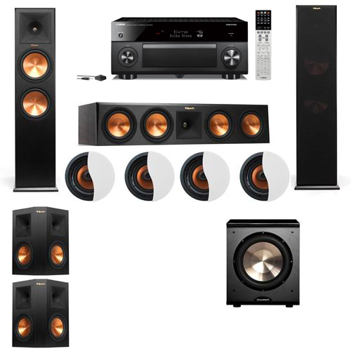 Dolby Atmos 5.1.4 Klipsch RP-280F Tower Speakers PL-200 with Yamaha RX-A2060