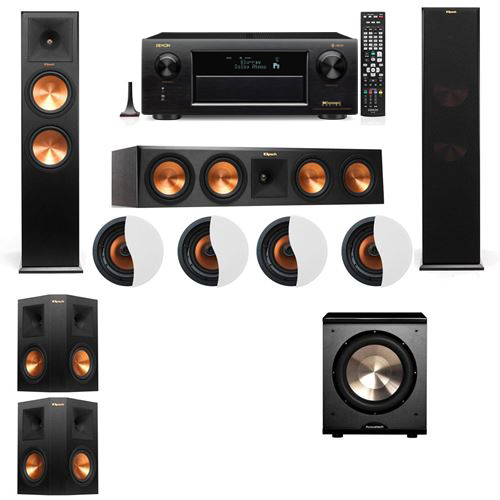 Dolby Atmos 5.1.4 Klipsch RP-280F Tower Speakers PL-200 with Denon AVR-X6300H