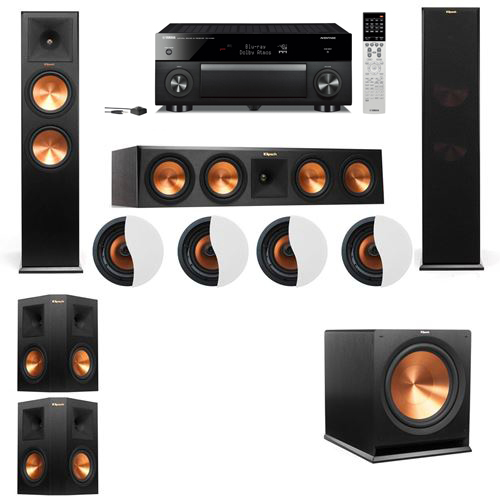 Dolby Atmos 5.1.4 Klipsch RP-280F Tower Speakers R-115SW with Yamaha RX-A1060