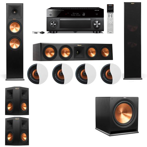 Dolby Atmos 5.1.4 Klipsch RP-280F Tower Speakers R-115SW with Yamaha RX-A2060