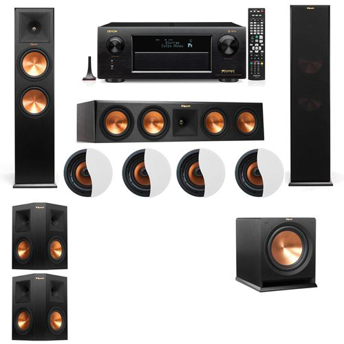 Dolby Atmos 5.1.4 Klipsch RP-280F Tower Speakers R112SW with Denon AVR-X6300H