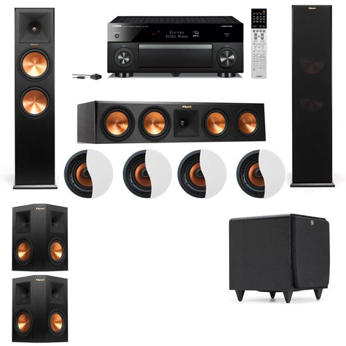 Dolby Atmos 5.1.4 Klipsch RP-280F Tower Speakers SDS12 with Yamaha RX-A1060
