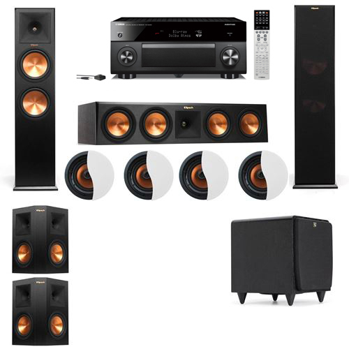 Dolby Atmos 5.1.4 Klipsch RP-280F Tower Speakers SDS12 with Yamaha RX-A2060