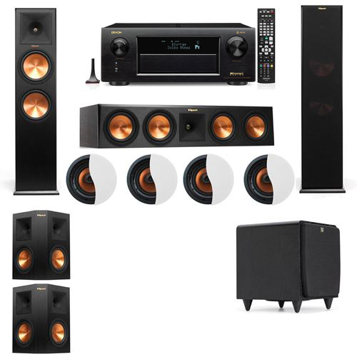 Dolby Atmos 5.1.4 Klipsch RP-280F Tower Speakers SDS12 with Denon AVR-X6300H
