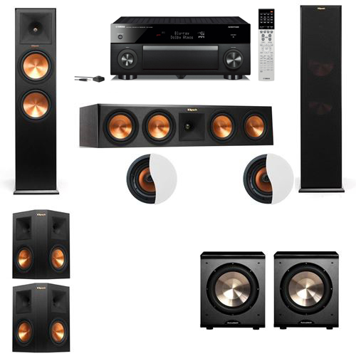 Dolby Atmos 5.2.2 Klipsch RP-280F Tower Speakers PL-200 with Yamaha RX-A1060