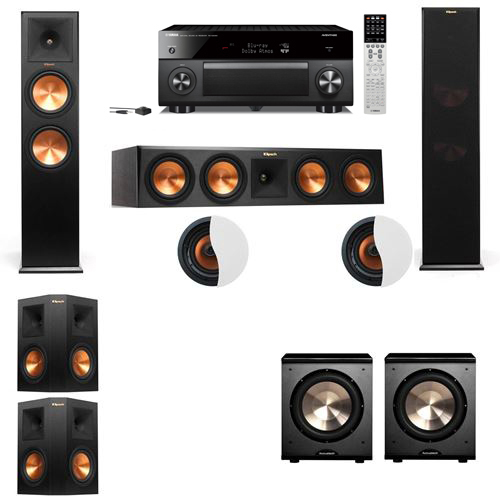 Dolby Atmos 5.2.2 Klipsch RP-280F Tower Speakers PL-200 with Yamaha RX-A2060