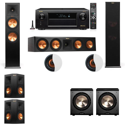 Dolby Atmos 5.2.2 Klipsch RP-280F Tower Speakers PL-200 with Denon AVR-X6300H