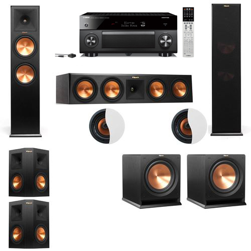 Dolby Atmos 5.2.2 Klipsch RP-280F Tower Speakers R112SW with Yamaha RX-A2060