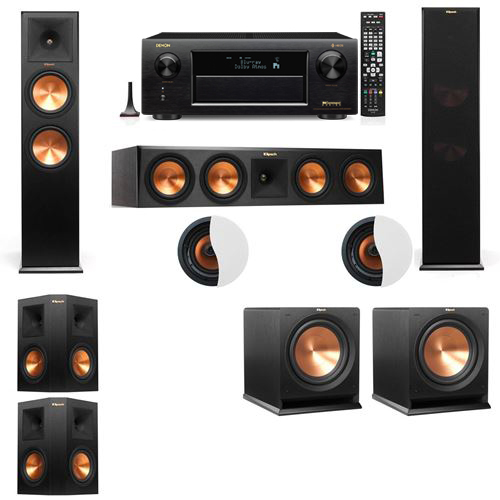 Dolby Atmos 5.2.2 Klipsch RP-280F Tower Speakers R112SW with Denon AVR-X6300H