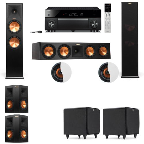 Dolby Atmos 5.2.2 Klipsch RP-280F Tower Speakers SDS12with Yamaha RX-A1060