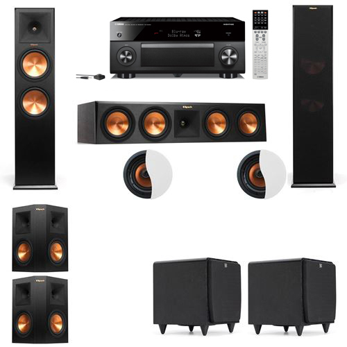Dolby Atmos 5.2.2 Klipsch RP-280F Tower Speakers SDS12with Yamaha RX-A2060