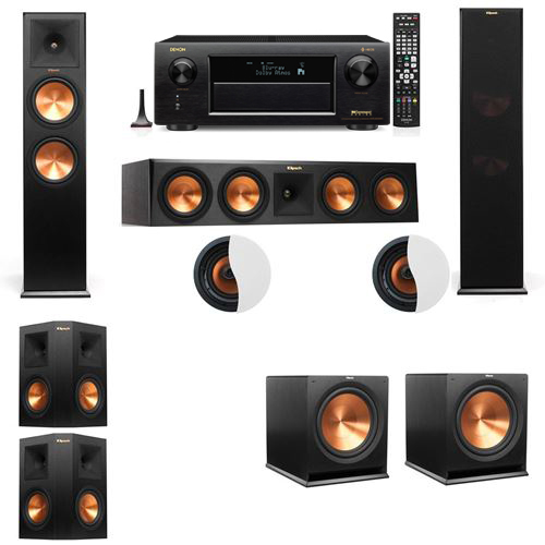 Dolby Atmos 5.2.2 Klipsch RP-280F Tower Speakers with Denon AVR-X6300H