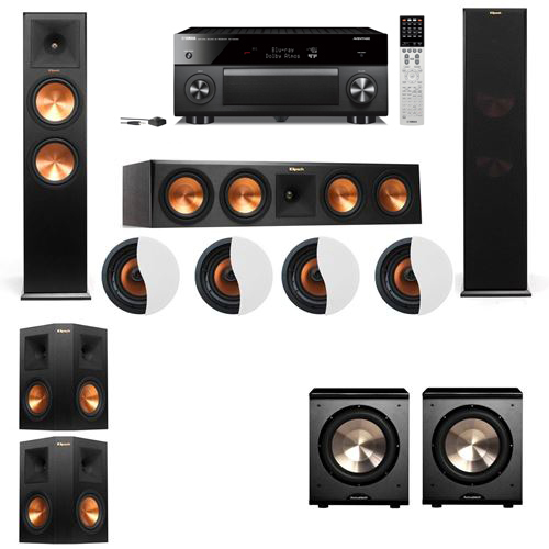 Dolby Atmos 5.2.4 Klipsch RP-280F Tower Speakers PL-200 with Yamaha RX-A2060