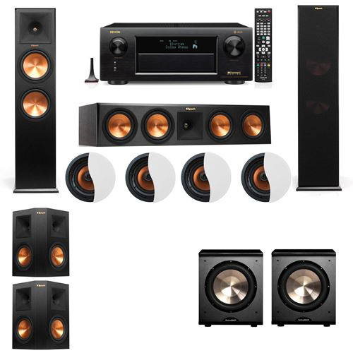 Dolby Atmos 5.2.4 Klipsch RP-280F Tower Speakers PL-200 with Denon AVR-X6300H