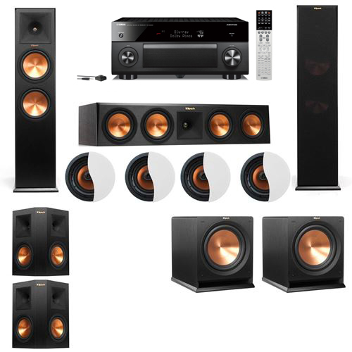 Dolby Atmos 5.2.4 Klipsch RP-280F Tower Speakers R112SW with Yamaha RX-A2060