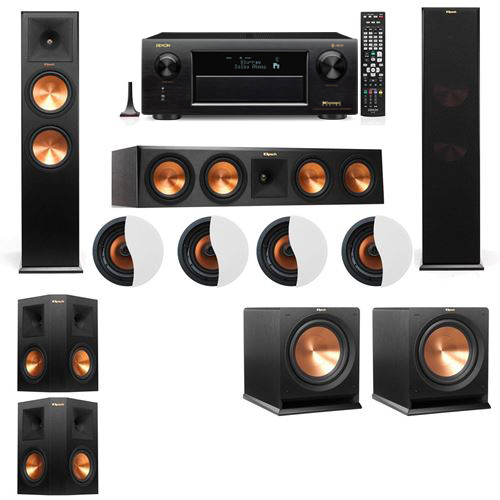 Dolby Atmos 5.2.4 Klipsch RP-280F Tower Speakers R112SW with Denon AVR-X6300H