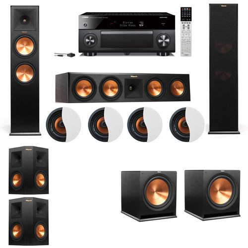 Dolby Atmos 5.2.4 Klipsch RP-280F Tower Speakers R115SW with Yamaha RX-A2060