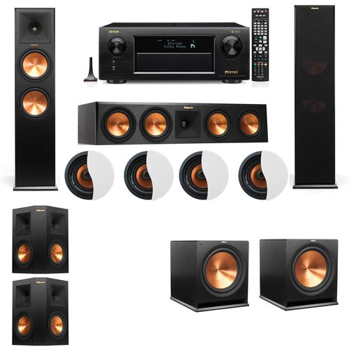 Dolby Atmos 5.2.4 Klipsch RP-280F Tower Speakers R115SW with Denon AVR-X6300H
