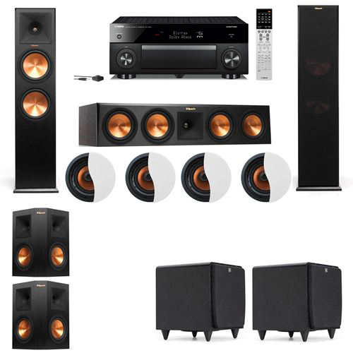 Dolby Atmos 5.2.4 Klipsch RP-280F Tower Speakers SDS12 with Yamaha RX-A1060