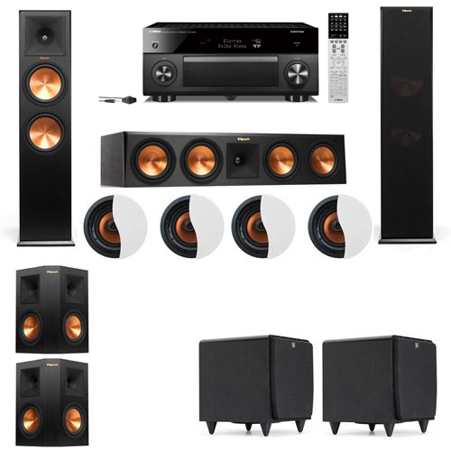Dolby Atmos 5.2.4 Klipsch RP-280F Tower Speakers SDS12 with Yamaha RX-A2060