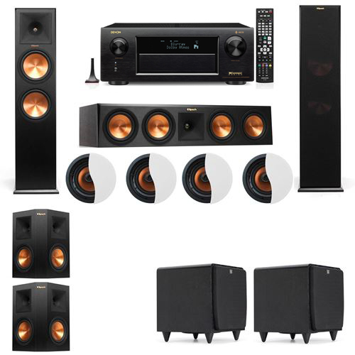 Dolby Atmos 5.2.4 Klipsch RP-280F Tower Speakers SDS12 with Denon AVR-X6300H