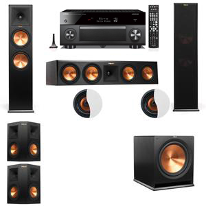 Dolby Atmos 5.1.2 Klipsch RP-280F Tower Speakers R-115SW with Yamaha RX-A3060