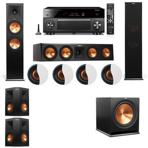 Dolby Atmos 5.1.4 Klipsch RP-280F Tower Speakers R-115SW with Yamaha RX-A3060