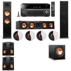 Dolby Atmos 5.1.4 Klipsch RP-280F Tower Speakers R112SW with Yamaha RX-A3060