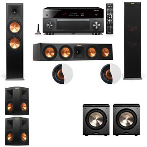 Dolby Atmos 5.2.2 Klipsch RP-280F Tower Speakers PL-200 with Yamaha RX-A3060