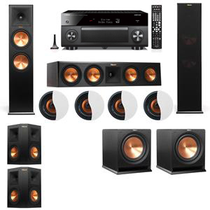 Dolby Atmos 5.2.4 Klipsch RP-280F Tower Speakers R112SW with Yamaha RX-A3060