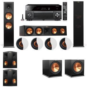 Dolby Atmos 5.2.4 Klipsch RP-280F Tower Speakers R115SW with Yamaha RX-A3060