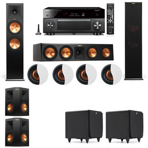 Dolby Atmos 5.2.4 Klipsch RP-280F Tower Speakers SDS12 with Yamaha RX-A3060