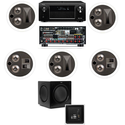 Klipsch KL-7502-THX 5.1 In-Ceiling System-Denon AVR-X4000 IN-Command 7.2- White