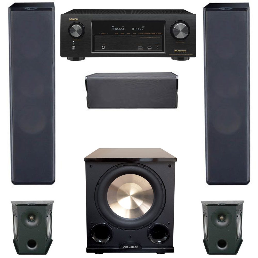 Premier Acoustic 5.1 Home Theater System Bundle with 2 PA-6F Tower Speakers, 2 PA-6S Surrounds, 1 PA-6C Center Channel Speaker, 1 BIC/Acoustech PL-200II Subwoofer, 1 Denon AVR-X1300W Receiver