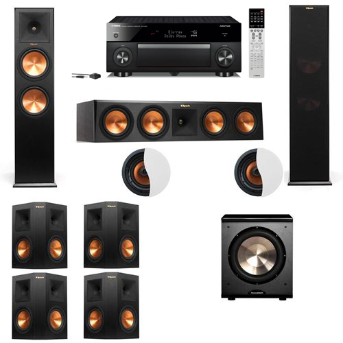 Dolby Atmos 7.1.2 Klipsch RP-280F Tower Speakers PL-200 with Yamaha RX-A1060