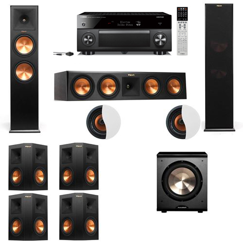 Dolby Atmos 7.1.2 Klipsch RP-280F Tower Speakers PL-200 with Yamaha RX-A2060