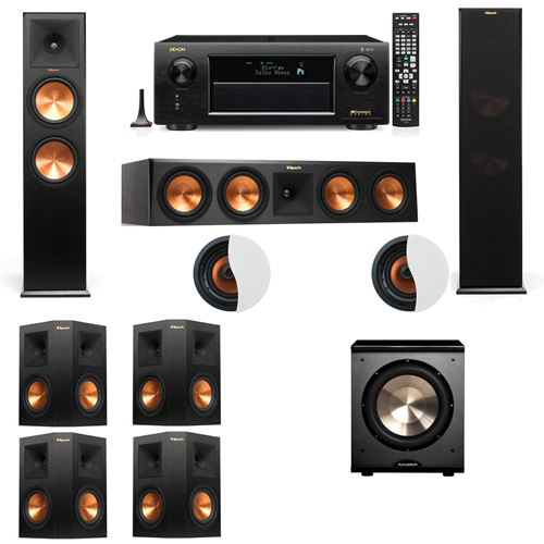 Dolby Atmos 7.1.2 Klipsch RP-280F Tower Speakers PL-200 with Denon AVR-X6300H