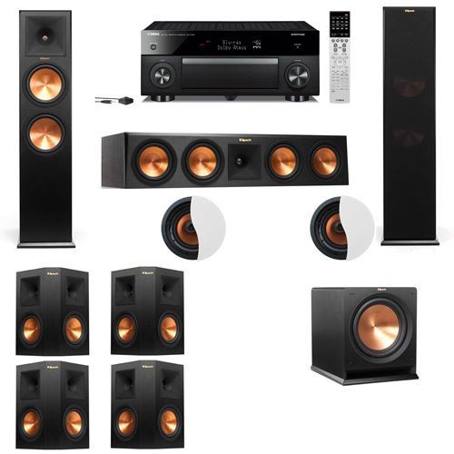 Dolby Atmos 7.1.2 Klipsch RP-280F Tower Speakers R112SW with Yamaha RX-A1060