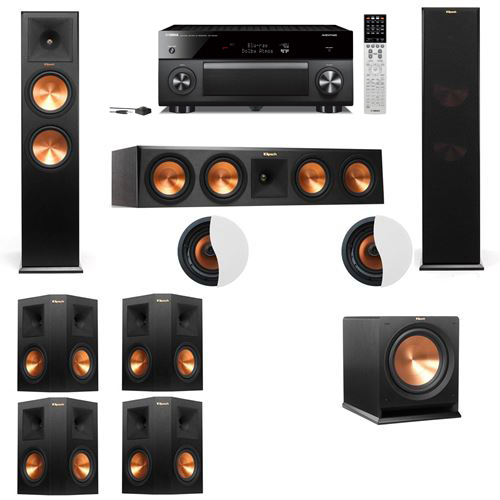 Dolby Atmos 7.1.2 Klipsch RP-280F Tower Speakers R112SW with Yamaha RX-A2060