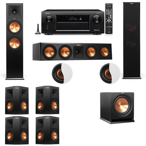 Dolby Atmos 7.1.2 Klipsch RP-280F Tower Speakers R112SW with Denon AVR-X6300H