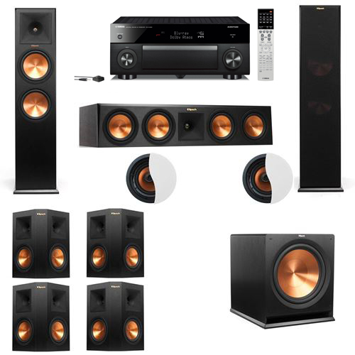 Dolby Atmos 7.1.2 Klipsch RP-280F Tower Speakers R115SW with Yamaha RX-A1060