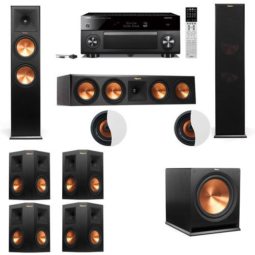 Dolby Atmos 7.1.2 Klipsch RP-280F Tower Speakers R115SW with Yamaha RX-A2060