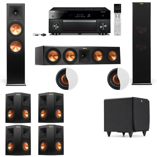 Dolby Atmos 7.1.2 Klipsch RP-280F Tower Speakers SDS12 with Yamaha RX-A1060