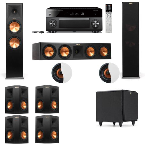 Dolby Atmos 7.1.2 Klipsch RP-280F Tower Speakers SDS12 with Yamaha RX-A2060